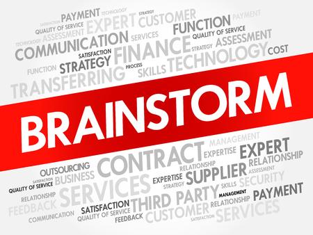 BRAINSTORM word cloud, business concept background Illustration
