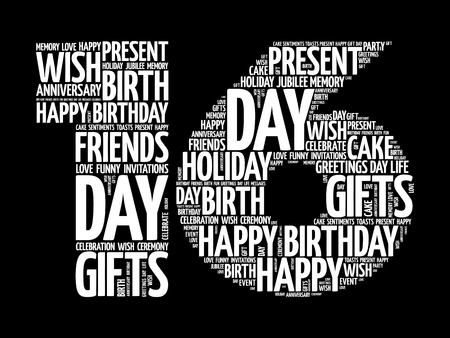 Happy 16th birthday word cloud collage concept Illustration