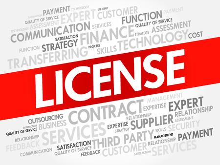Collage di nuvola di parola di licenza, priorità bassa di concetto di affari Vettoriali
