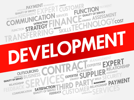 Development word cloud collage, business concept background Çizim