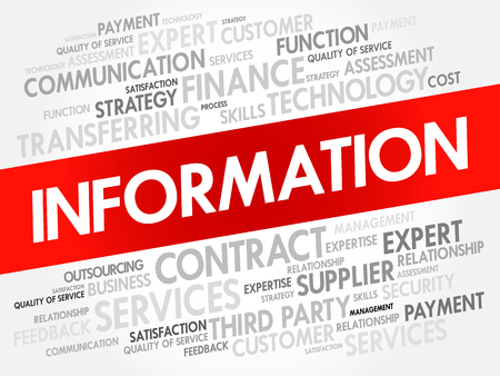Information word cloud collage, business concept background