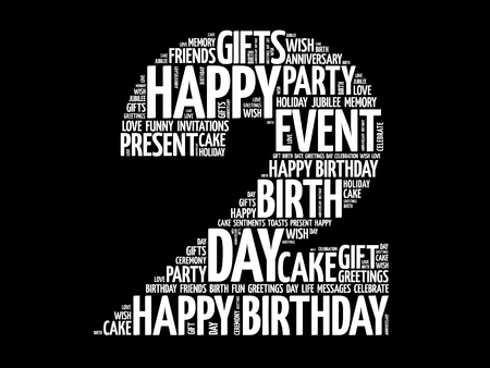 Happy 2nd birthday word cloud collage, holiday concept background