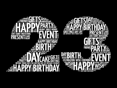 Happy 23rd birthday word cloud collage concept Illustration