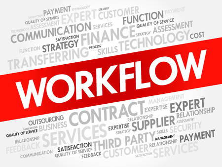 WORKFLOW word cloud, technology business concept background Illustration