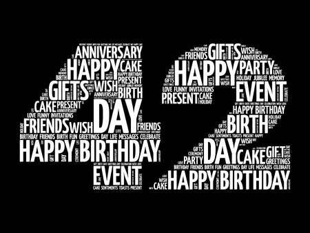Happy 42nd birthday word cloud collage concept Illustration