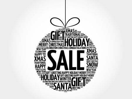 SALE christmas ball word cloud, lettering collage