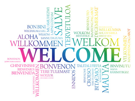 WELCOME word cloud in different languages, concept background Vectores