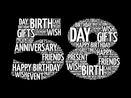 Happy 58th birthday word cloud collage concept