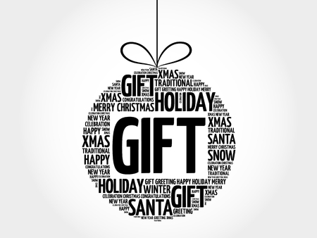 GIFT christmas ball word cloud, holidays lettering collage