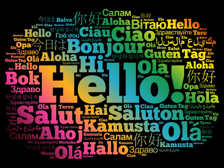 Hello word cloud in different languages of the world, background concept Illustration