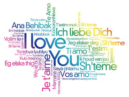 """Liebeswörter """"Ich liebe dich"""" in allen Sprachen der Welt, Wortwolkenhintergrund Vektorgrafik"""