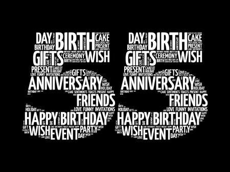 Happy 55th birthday word cloud collage concept Illustration