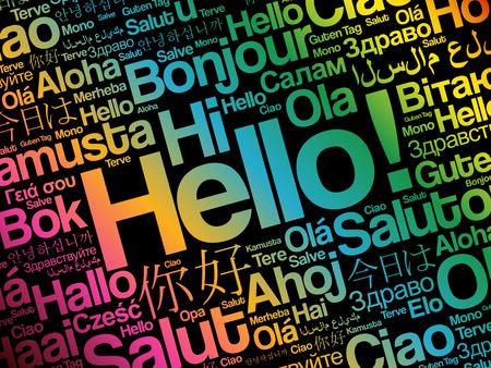 Bonjour nuage de mot dans différentes langues du monde, concept de fond