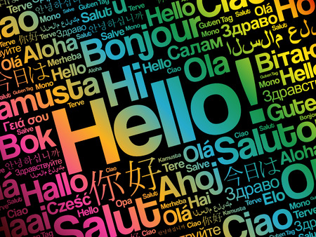 Ciao nuvola in diverse lingue del mondo, concetto di sfondo