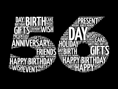 Happy 56st birthday word cloud collage concept