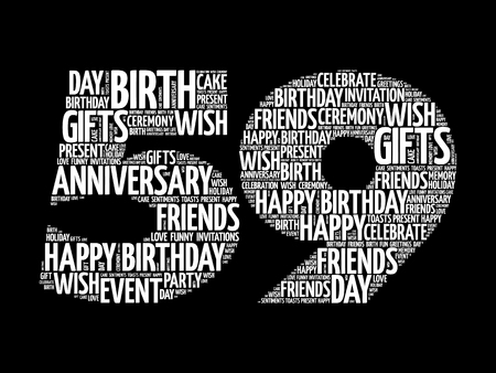 Happy 59th birthday word cloud collage concept Illustration