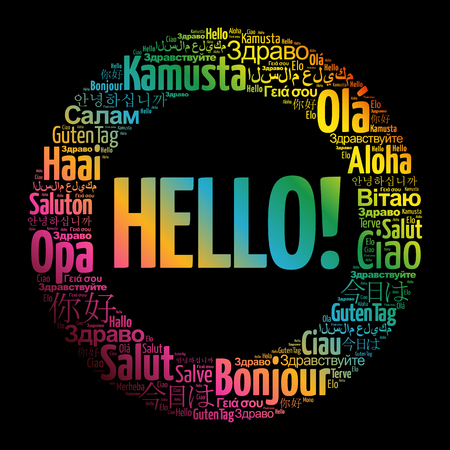 Hello word cloud in different languages of the world Illustration