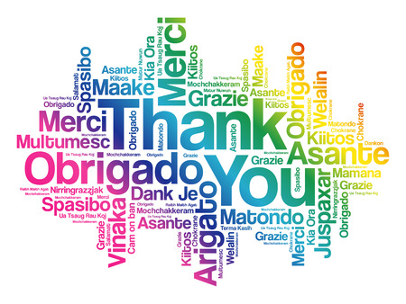 Thank You Word Cloud background, all languages, multilingual for education or thanksgiving day 矢量图像