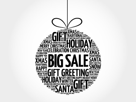 BIG SALE christmas ball word cloud, holidays lettering collage