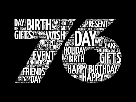 Happy 76th birthday word cloud collage concept Illustration