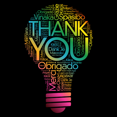 Thank You Bulb Word Cloud, all languages concept Illustration