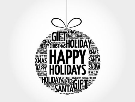 Happy Holidays christmas ball word cloud, holidays lettering collage Illustration