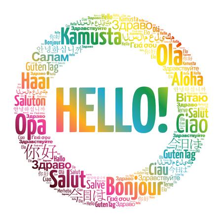 Bonjour nuage de mot dans différentes langues du monde Vecteurs