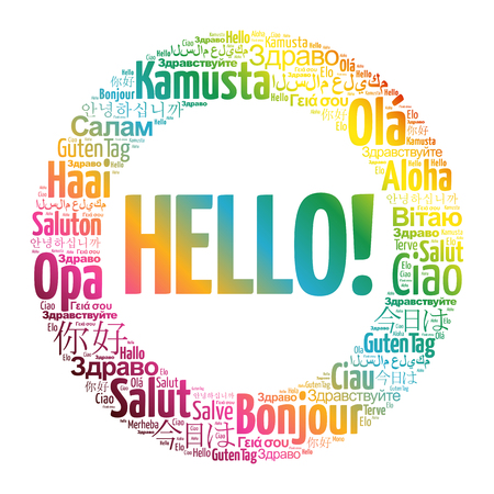 Hello word cloud in different languages of the world Vetores