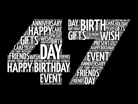 Happy 47th birthday word cloud collage concept