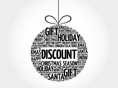 Discount christmas ball word cloud, holidays lettering collage
