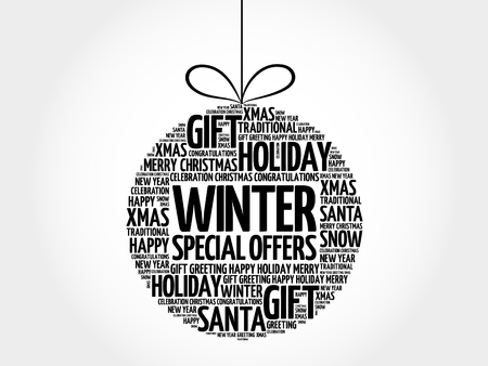 Winter Special Offers christmas ball word cloud, holidays lettering collage
