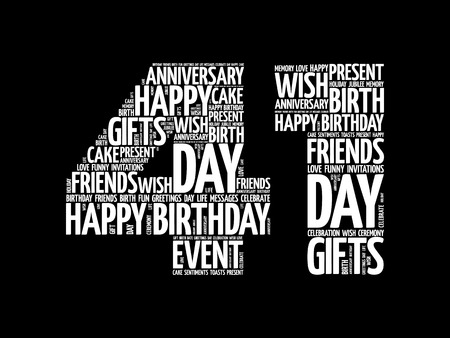 Happy 41st birthday word cloud collage concept Illustration