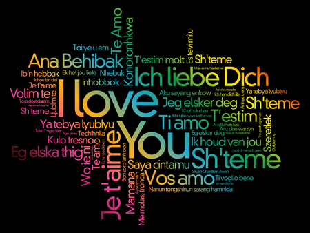 love words I love you in all languages of the world, word cloud background Illustration