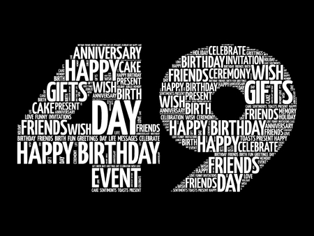Happy 49th birthday word cloud collage concept