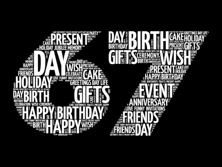 Happy 67th birthday word cloud collage concept