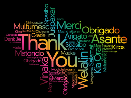 Thank You Word Cloud background, all languages, multilingual for education or thanksgiving day Illustration