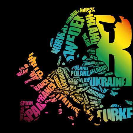 Europe Map in Typography word cloud concept