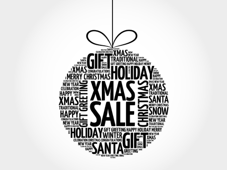 XMAS SALE christmas ball word cloud, holidays lettering collage Illustration