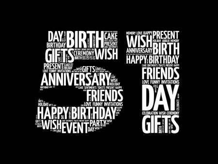Happy 51st birthday word cloud collage concept