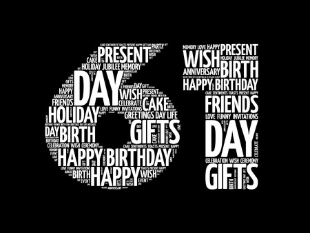 Happy 61st birthday word cloud collage concept Illustration