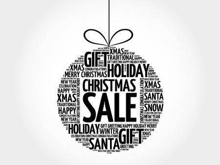 Christmas SALE, christmas ball word cloud, holidays lettering collage