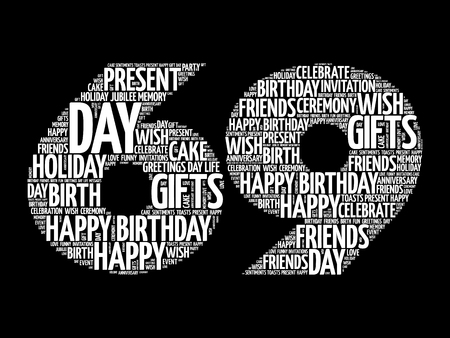 Happy 69th birthday word cloud collage concept Illustration
