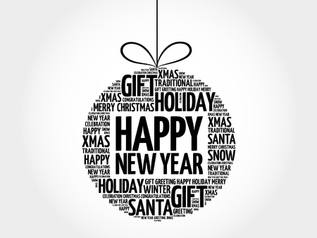 Happy New Year christmas ball word cloud, holidays lettering collage