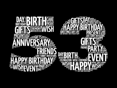 Happy 53rd birthday word cloud collage concept
