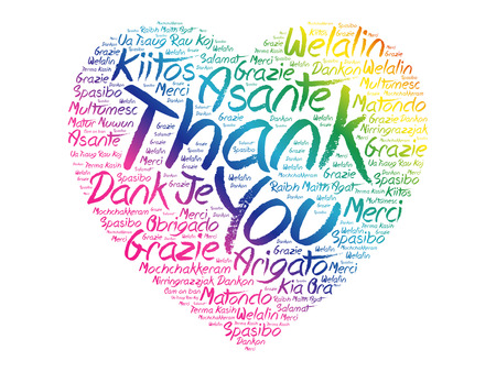 Gracias amor corazón palabra nube en diferentes idiomas, concepto de fondo