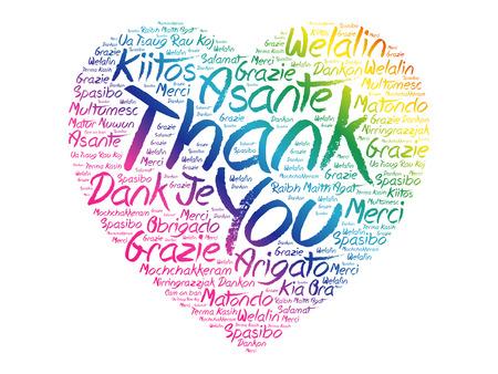 Merci amour coeur nuage de mot dans différentes langues, fond de concept