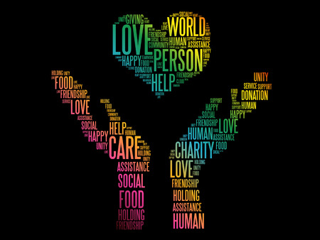 Charity, Donation word cloud collage, concept background