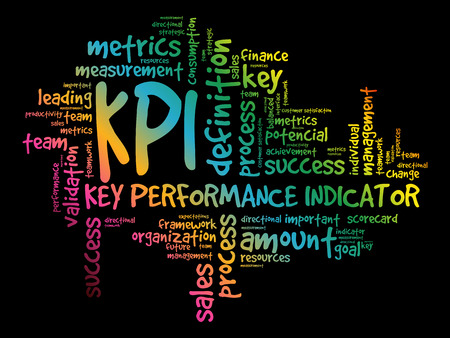 KPI - Key Performance Indicator word cloud collage, business concept background Illustration