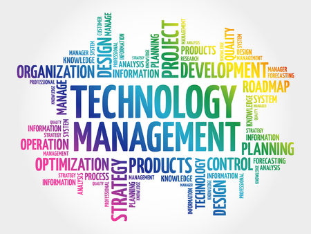 Technology Management word cloud, business concept background