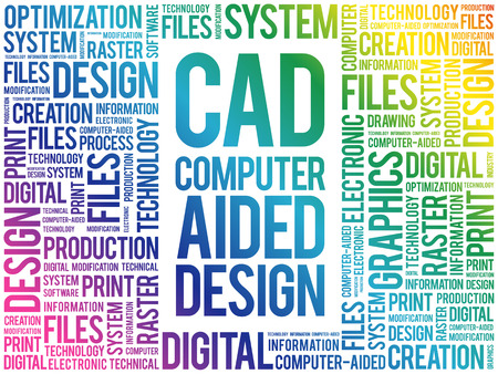 CAD - Computer Aided Design word cloud, business concept background Vettoriali